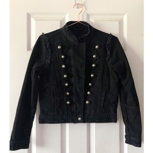 ASOS Black Military Inspired Denim Jacket Size 6